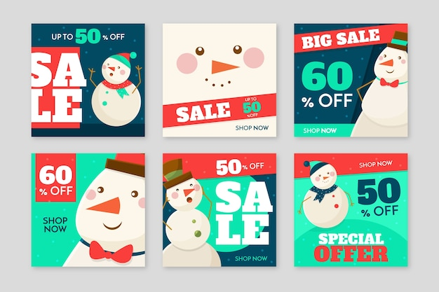 Kerstmis verkoop instagram post collectie Gratis Vector