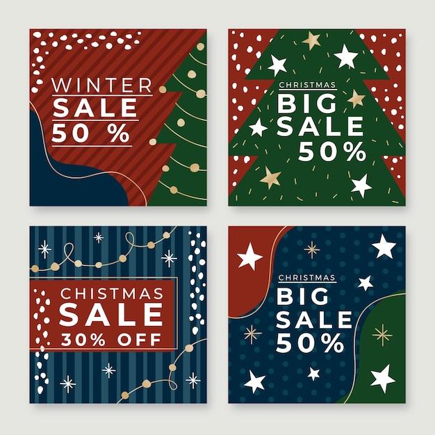 Kerstmis verkoop instagram post collectie Gratis Vector