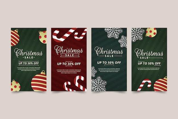 Kerstmis verkoop instagram verhaalcollectie Gratis Vector