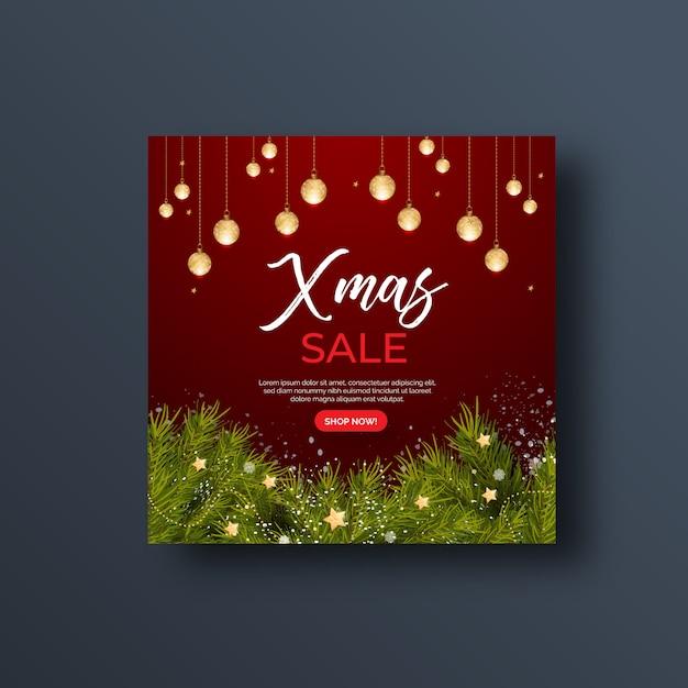 Kerstmis verkoop sociale media banner of vierkante flyer Premium Vector