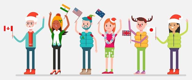 Kerstmis vieren in de wereld. gelukkige mensen in vakantiekostuums met vlaggen van canada, de vs, australië, india, het verenigd koninkrijk en japan. karakters van mannen en vrouwen op achtergrond. Premium Vector