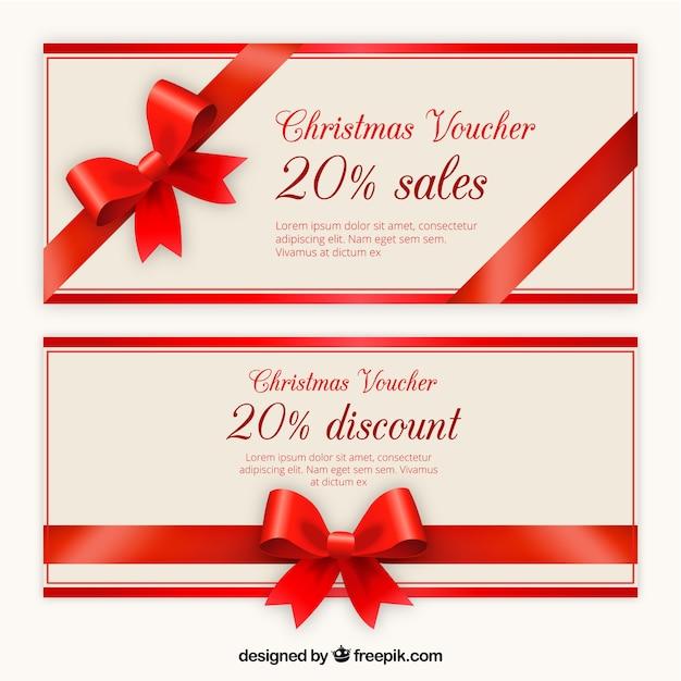 Kerstmis voucher discount template pack Gratis Vector