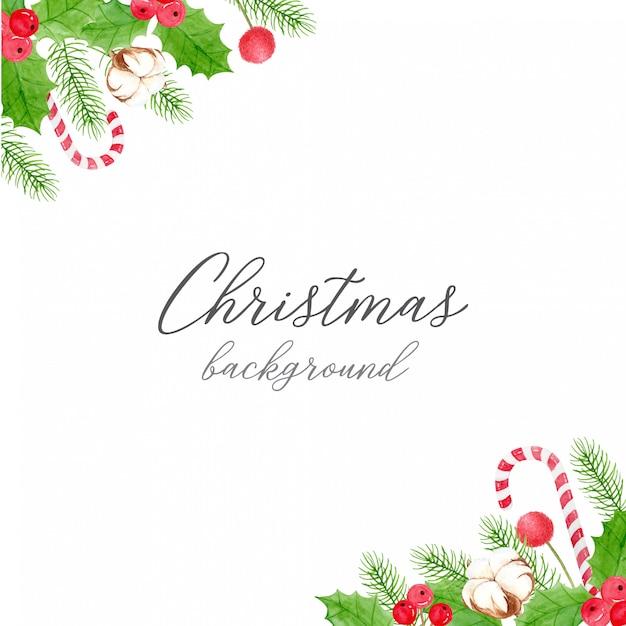Kerstmisachtergrond - hoekdecoratie van hulstbessen en bladeren, katoenen bloem, pijnboombladeren en snoepriet Premium Vector