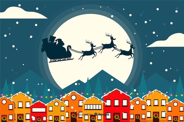 Kerstmisachtergrond in vlak ontwerp Gratis Vector