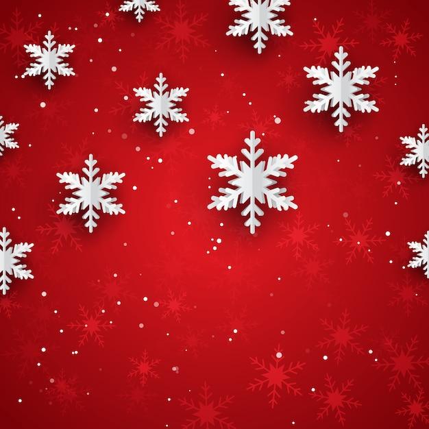 Kerstmisachtergrond met 3d stijldocument sneeuwvlokken Gratis Vector