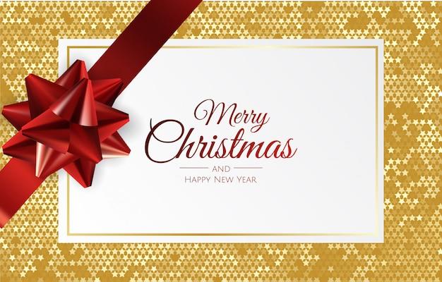 Kerstmisachtergrond met giftdoos en lint Premium Vector