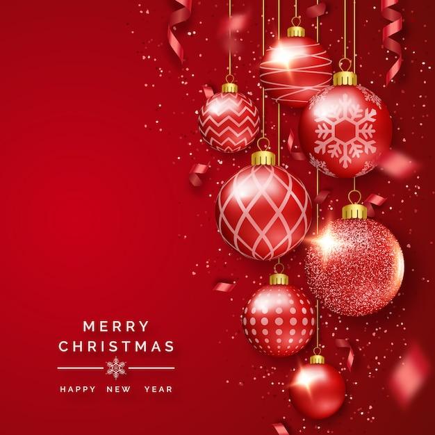 Kerstmisachtergrond met glanzende linten, confettien en kleurrijke ballen Premium Vector