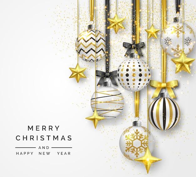Kerstmisachtergrond met glanzende sterren, bogen, confettien en kleurrijke ballen Premium Vector