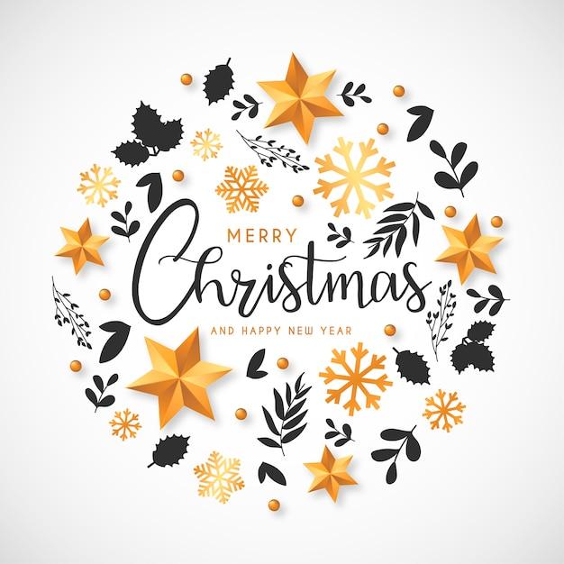 Kerstmisachtergrond met gouden ornamenten en hand getrokken bladeren Gratis Vector