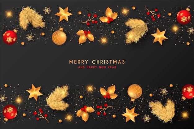 Kerstmisachtergrond met gouden & rode decoratie Gratis Vector