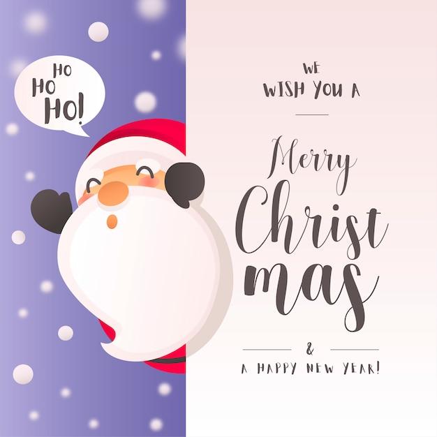 Kerstmisachtergrond met Grappig Santa Claus Character Gratis Vector