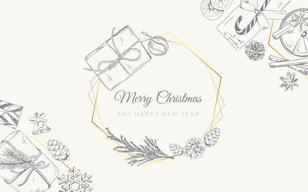 Kerstmisachtergrond met hand getrokken krabbelgiften Premium Vector