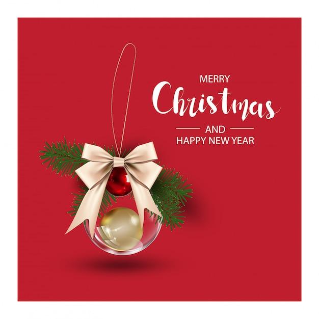 Kerstmisachtergrond met kerstboomtakken en bal Premium Vector