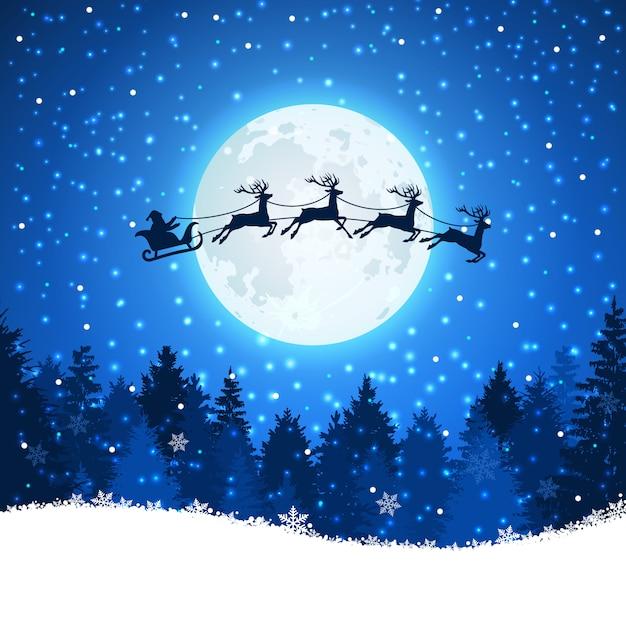 Kerstmisachtergrond met kerstman en deers die op de hemel vliegen Premium Vector