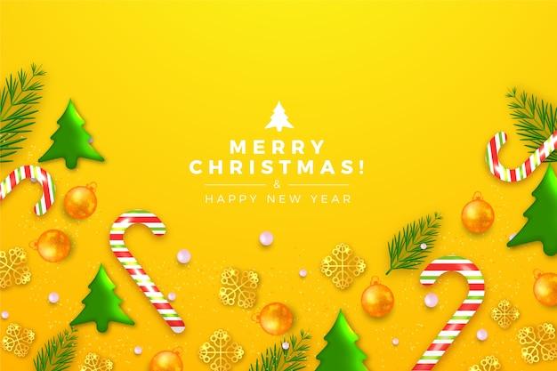 Kerstmisachtergrond met leuke boomdecoratie Gratis Vector
