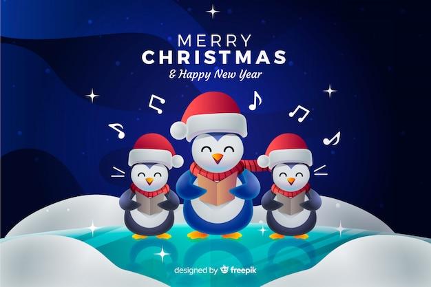 Kerstmisachtergrond met pinguïnen die een hymne zingen Gratis Vector