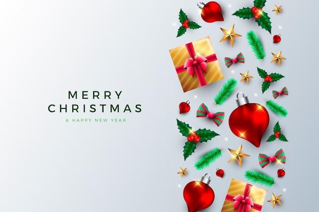 Kerstmisachtergrond met realistische cadeaus en bollen Gratis Vector
