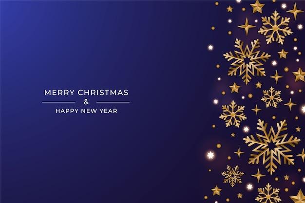 Kerstmisachtergrond met realistische decoratie Gratis Vector