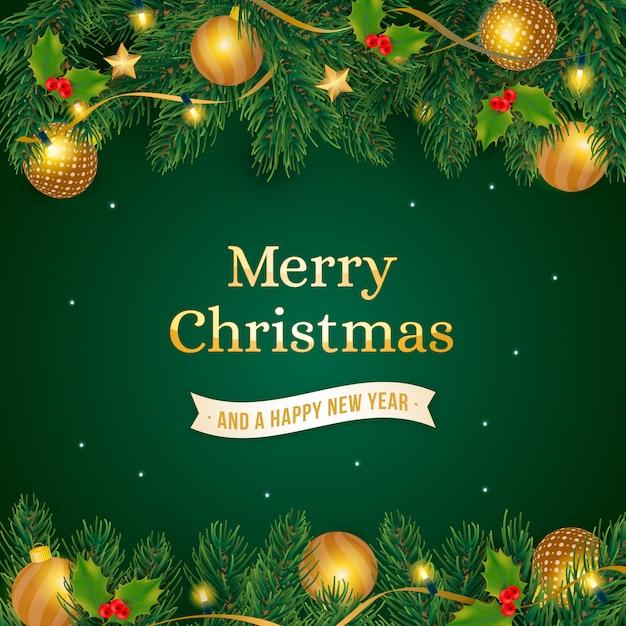 Kerstmisachtergrond met realistische gouden decoratie Gratis Vector