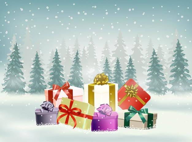Kerstmisachtergrond met sneeuwvlok en giften Premium Vector