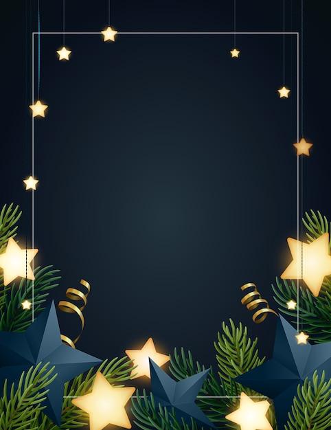 Kerstmisachtergrond met sparrentakken, gloeiende sterren, gouden serpentines en document sterren. donkere achtergrond met copyspace. Premium Vector