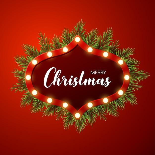 Kerstmisachtergrond met spartakken, licht teken op rode achtergrond Premium Vector