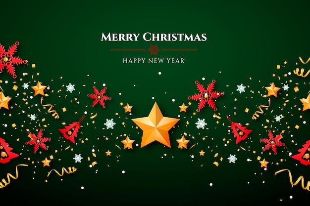 Kerstmisachtergrond met sterren en decoratie Gratis Vector