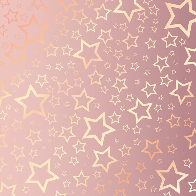 Kerstmisachtergrond met sterrig patroon op roze goud Gratis Vector
