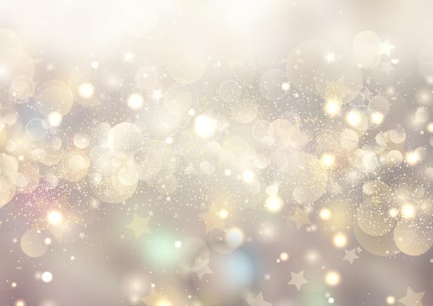 Kerstmisachtergrond van bokehlichten en sterren Gratis Vector