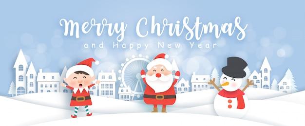 Kerstmisbanner met kerstman, sneeuwman en elf in het sneeuwdorp in document besnoeiing en ambachtstijlillustratie Premium Vector