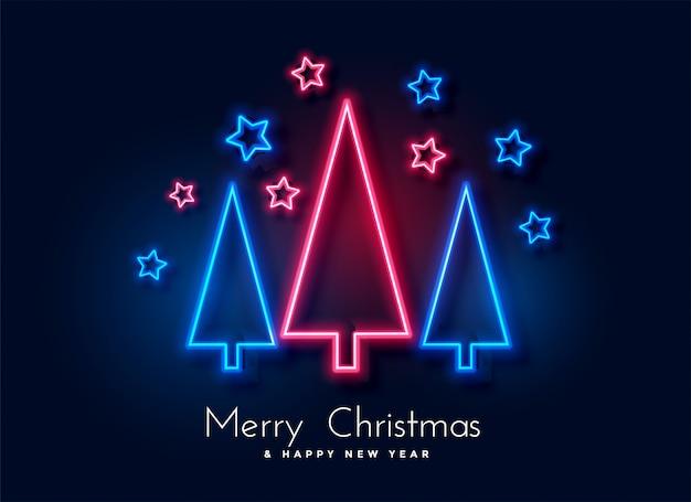 Kerstmisboom van het neon en sterrenachtergrond Gratis Vector