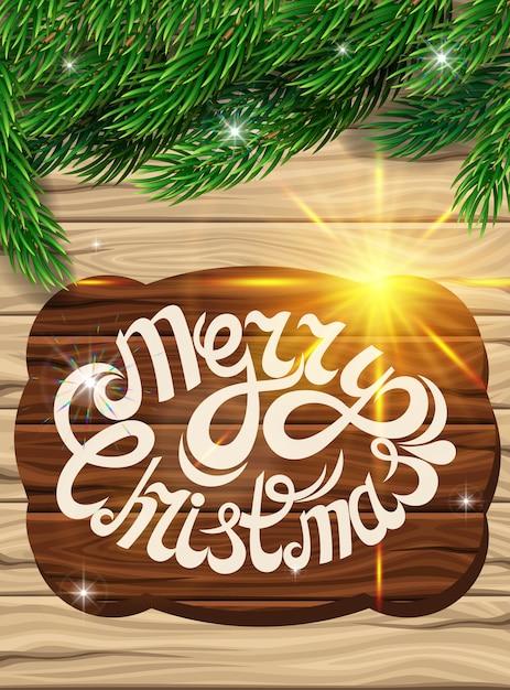 Kerstmisdecoratie op de achtergrond van de houten planken. Premium Vector