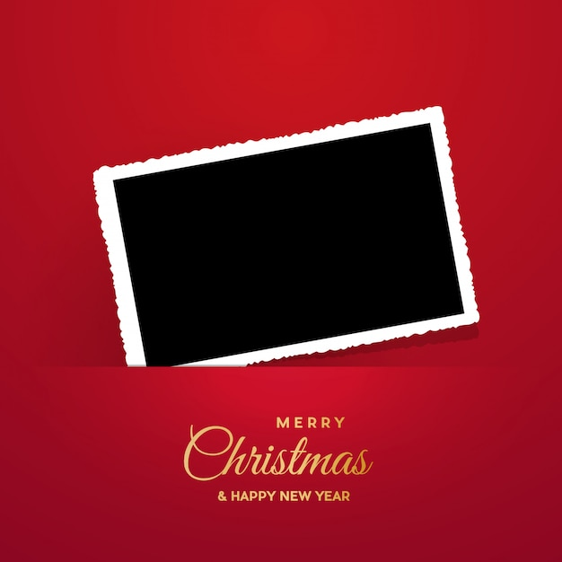 Kerstmiskader met foto, leeg kader. Premium Vector