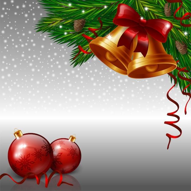 Kerstmisklokken en rode snuisterijen op grijze achtergrond Premium Vector