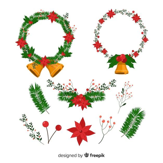 Kerstmiskroon met de winter bloemenelementen dat wordt geplaatst Gratis Vector