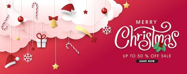 Kerstmissamenstelling op papier gesneden stijl verkoop banner achtergrond. Premium Vector