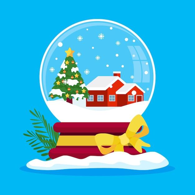 Kerstmissneeuwbalbol in plat ontwerp Gratis Vector
