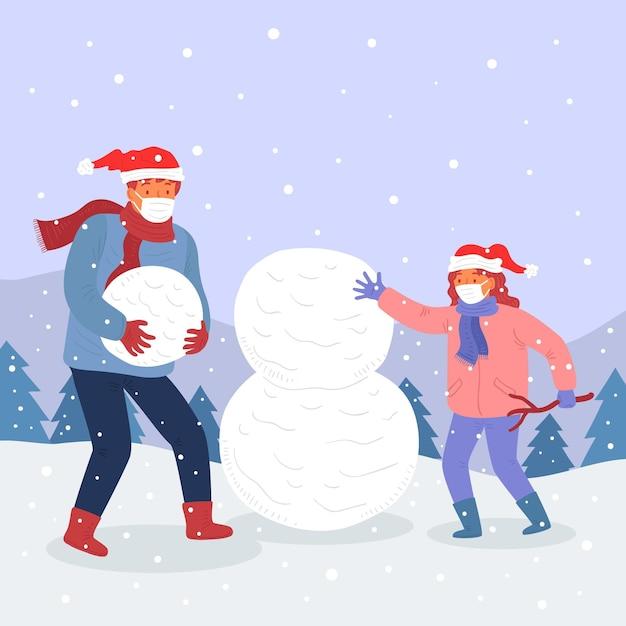 Kerstmissneeuwscène - maskers dragen Gratis Vector