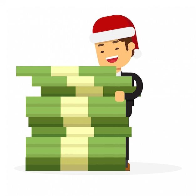 Kerstmiszakenman die het reusachtige geld van het giftpak houden Premium Vector