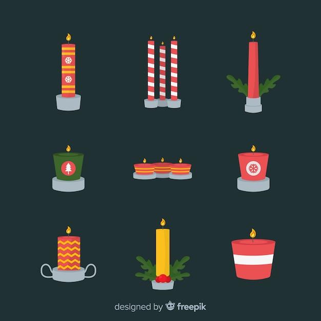 Kerstpakket Met Platte Kaars Vector Gratis Download