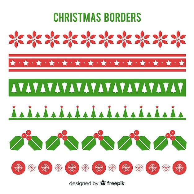 Kerstpakket met platte randen Gratis Vector