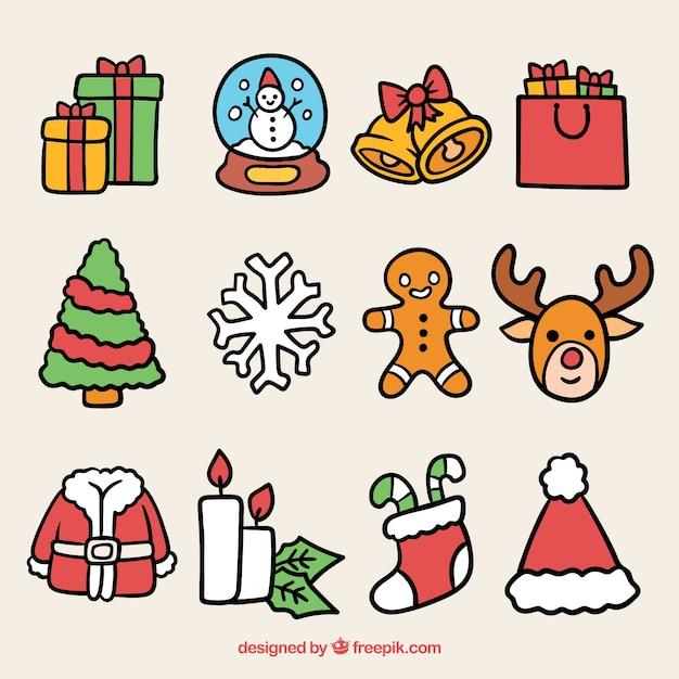 Kerstpakket Van Mooie Elementen Vector Gratis Download