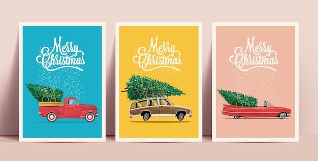 Kerstposters of kaarten met cartoon retro auto's met kerstboom aan boord met merry christmas-letters op een gekleurde achtergrond Premium Vector