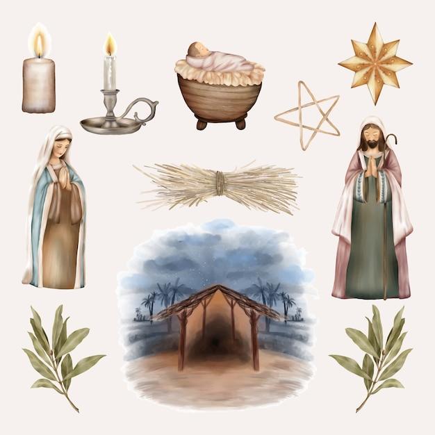 Kerstset, baby jezus, maagd maria en sint-jozef Premium Vector