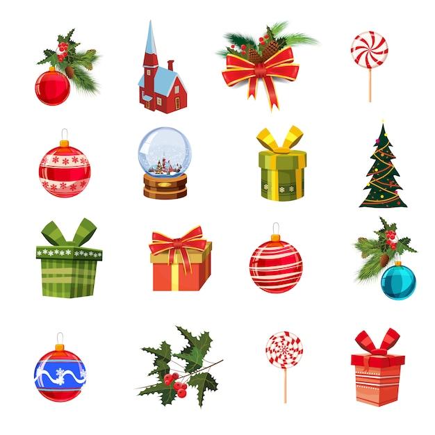 Kerstset met dennentakken, decoraties, snoepjes, linten, dozen met geschenken, cnow globe, grenen, kerstballen Premium Vector