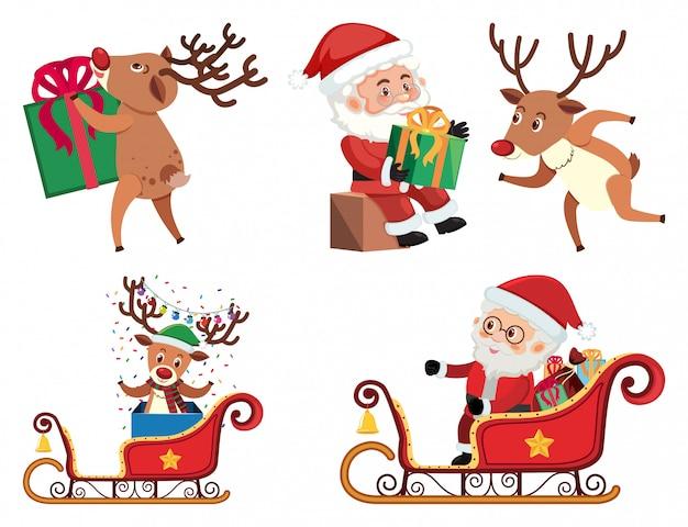 Kerstset met santa en rendieren Premium Vector