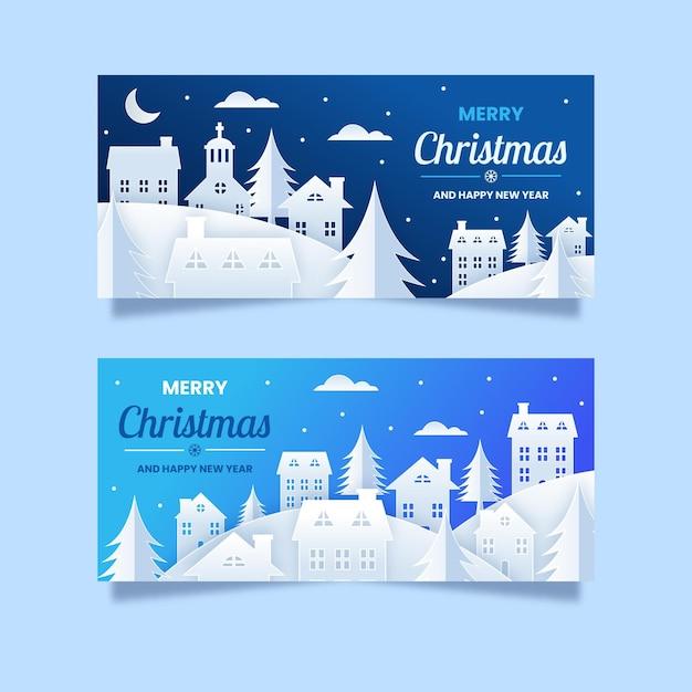 Kerststad banners in papieren stijl Premium Vector