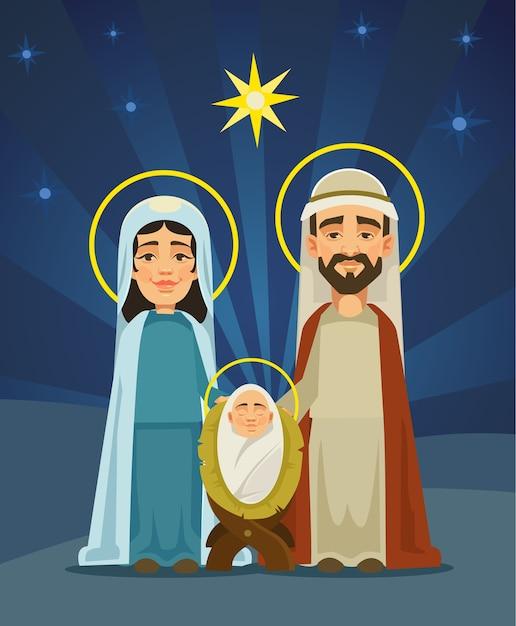 Kerststal. heilige familie. geboorte van christus. platte cartoon afbeelding Premium Vector