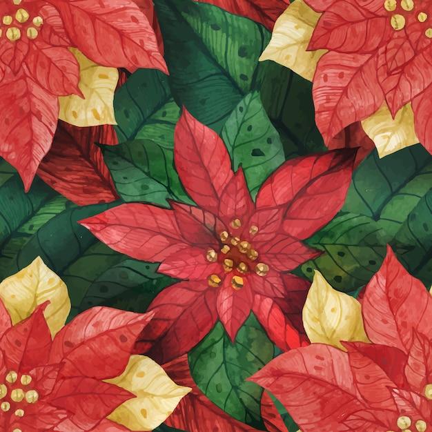 Kerstster poinsettia naadloos patroon Premium Vector