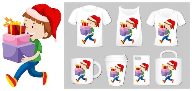 Kerstthema met jongen en cadeautjes op veel producten Gratis Vector